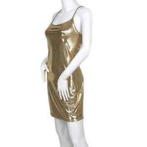 NWOT Metallic Gold Slip Dress